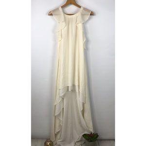 BCBG Ivory 100% Silk Chiffon Hi Low Maxi Dress M